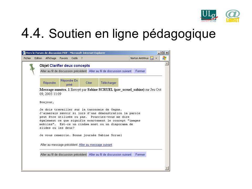 4.4. Soutien en ligne pédagogique