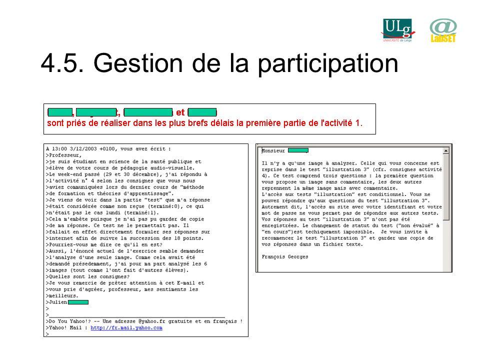 4.5. Gestion de la participation