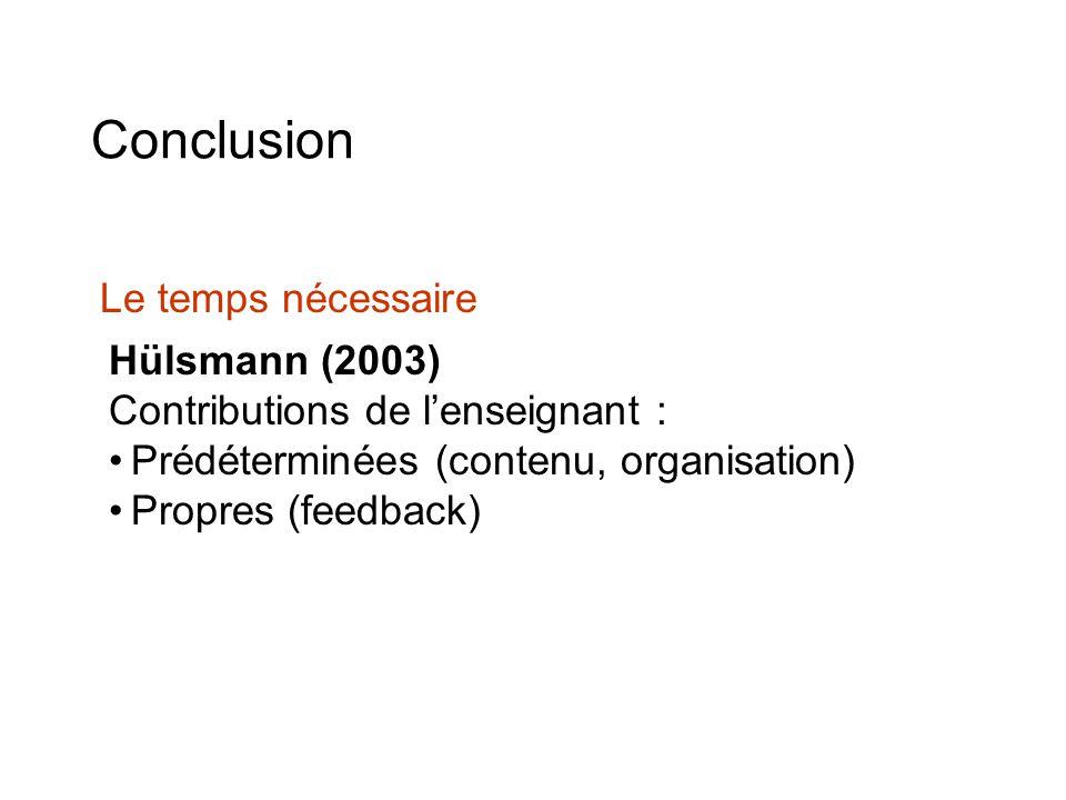 Conclusion Hülsmann (2003) Contributions de lenseignant : Prédéterminées (contenu, organisation) Propres (feedback) Le temps nécessaire