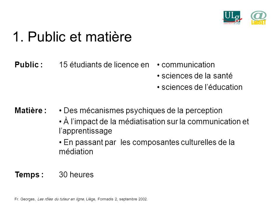 1. Public et matière Public :15 étudiants de licence en communication sciences de la santé sciences de léducation Matière : Des mécanismes psychiques