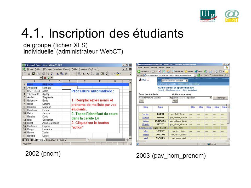 4.1. Inscription des étudiants de groupe (fichier XLS) individuelle (administrateur WebCT) 2002 (pnom) 2003 (pav_nom_prenom)