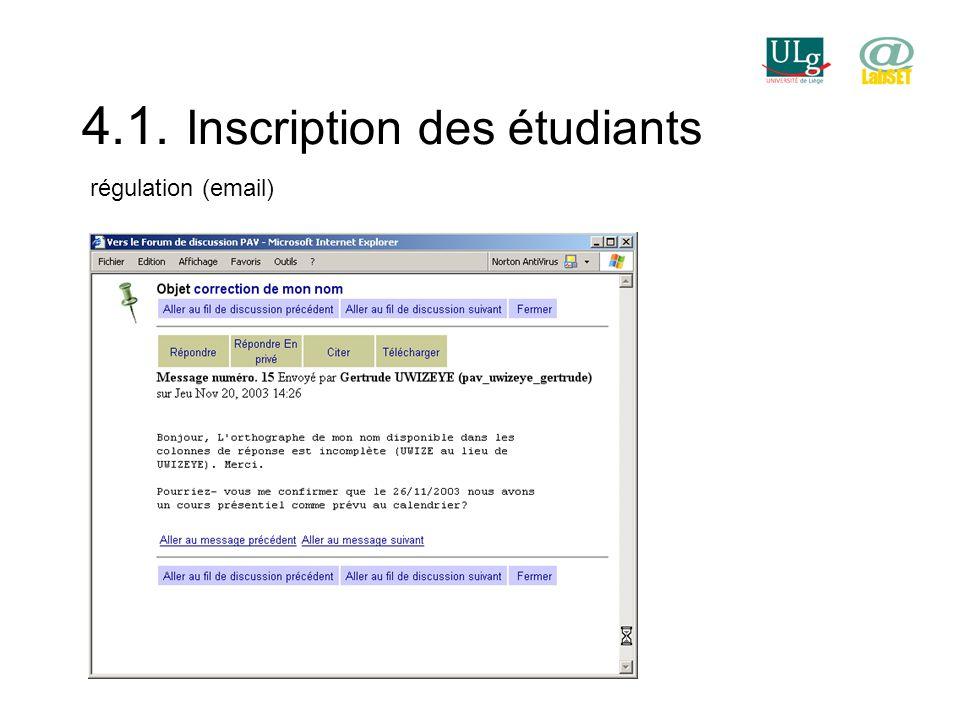 4.1. Inscription des étudiants régulation (email)