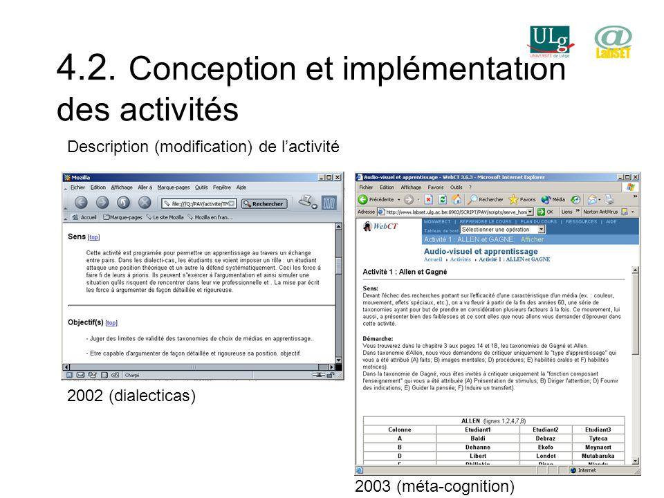 4.2. Conception et implémentation des activités Description (modification) de lactivité 2002 (dialecticas) 2003 (méta-cognition)