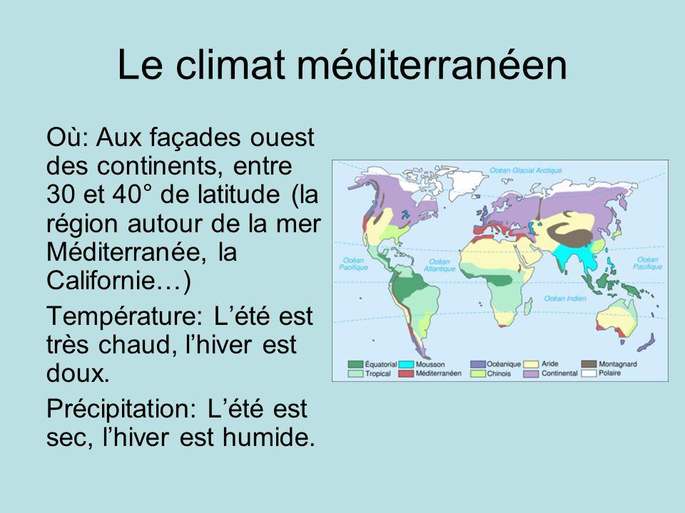 Le climat méditerranéen Où: Aux façades ouest des continents, entre 30 et 40° de latitude (la région autour de la mer Méditerranée, la Californie…) Te