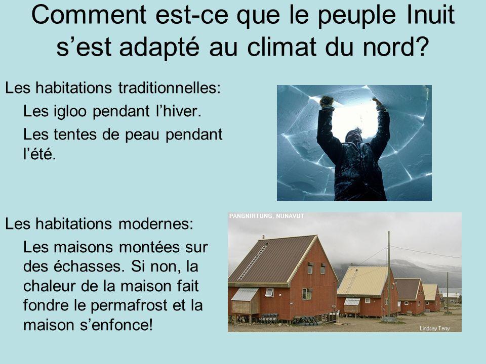 Comment est-ce que le peuple Inuit sest adapté au climat du nord? Les habitations traditionnelles: Les igloo pendant lhiver. Les tentes de peau pendan