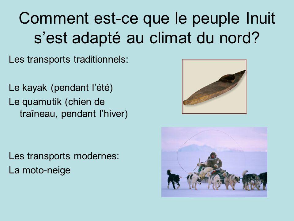 Comment est-ce que le peuple Inuit sest adapté au climat du nord? Les transports traditionnels: Le kayak (pendant lété) Le quamutik (chien de traîneau