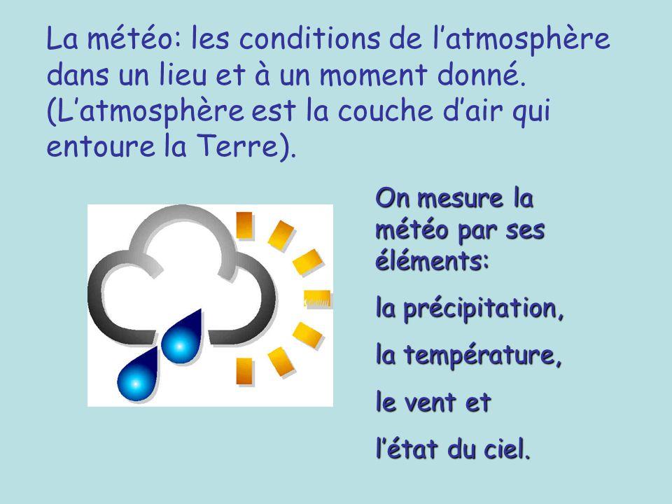 La météo: les conditions de latmosphère dans un lieu et à un moment donné. (Latmosphère est la couche dair qui entoure la Terre). On mesure la météo p