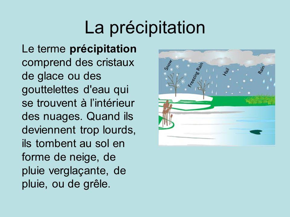 La précipitation Le terme précipitation comprend des cristaux de glace ou des gouttelettes d'eau qui se trouvent à lintérieur des nuages. Quand ils de