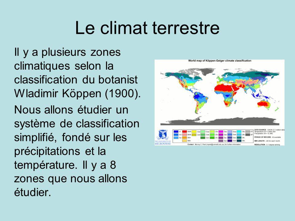 Le climat terrestre Il y a plusieurs zones climatiques selon la classification du botanist Wladimir Köppen (1900). Nous allons étudier un système de c