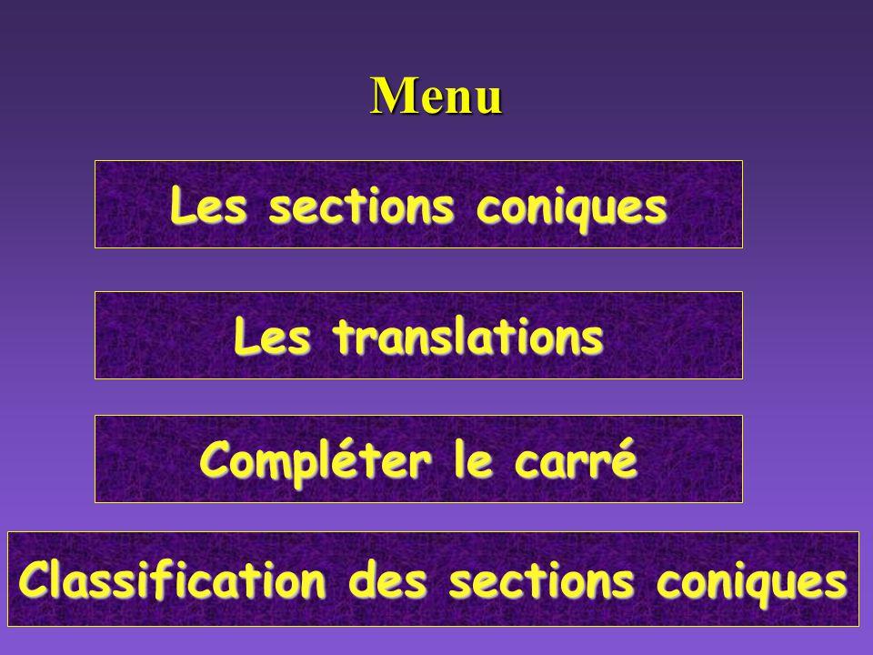 Les sections coniques Les sections coniques Les translations Les translations Compléter le carré Compléter le carré Classification des sections coniques Classification des sections coniquesMenu