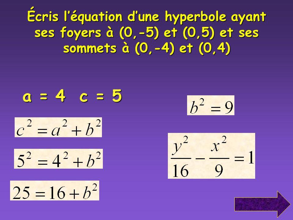 Écris léquation dune hyperbole ayant ses foyers à (-5,0) et (5,0) et les sommets à (-3,0) et (3,0) a = 3 c = 5
