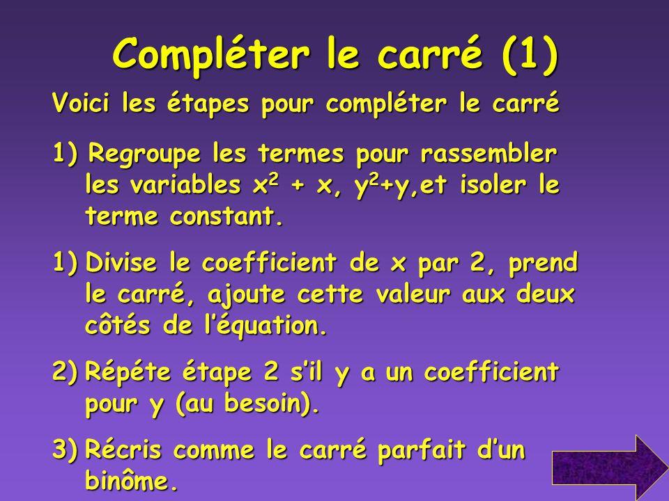 Les translations Identifie la section conique et trace son graphique centre Conique Retour au menu Retour au menu