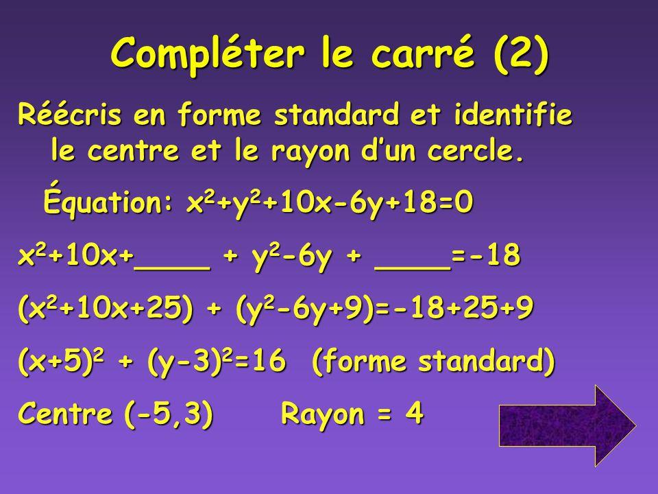 Compléter le carré (1) Voici les étapes pour compléter le carré 1) Regroupe les termes pour rassembler les variables x 2 + x, y 2 +y,et isoler le term