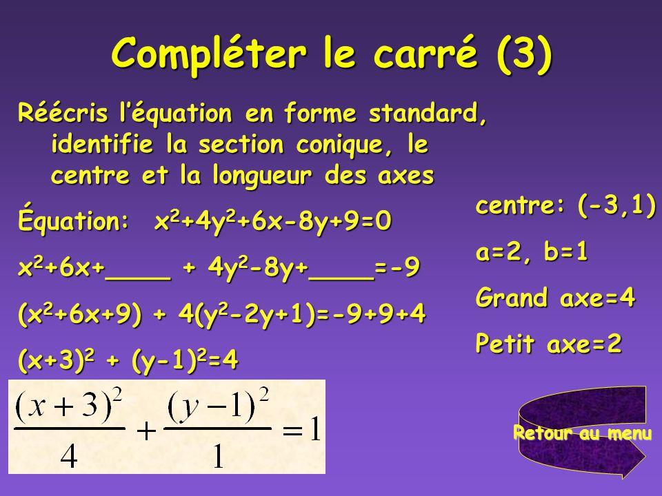 Compléter le carré (2) Réécris en forme standard et identifie le centre et le rayon dun cercle. Équation: x 2 +y 2 +10x-6y+18=0 Équation: x 2 +y 2 +10