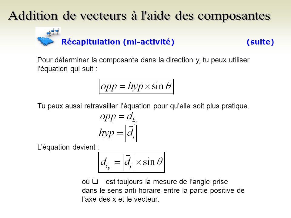 Détermine maintenant les composantes dans les directions x et y des deux autres vecteurs.