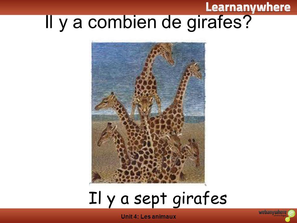 Il y a combien de girafes? Unit 4: Les animaux Il y a sept girafes