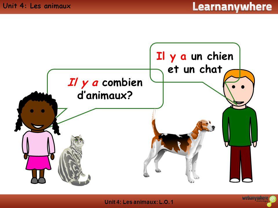 Unit 4: Les animaux: L.O. 1 Unit 4: Les animaux Il y a combien danimaux? Il y a un chien et un chat