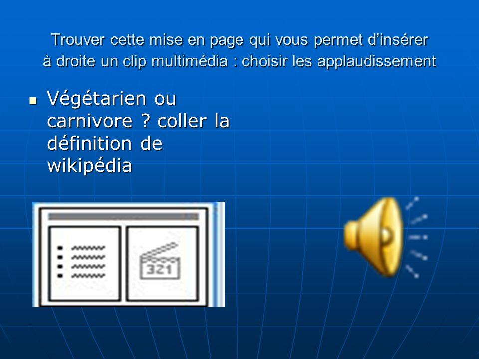 Pour modifier la présentation de la page, regarder à droite les différentes proposition de disposition des diapositives Pour insérer une image que lon a soigneusement enregistrer dans un dossier nommé : « power point » dans mes images : PHOTO de de lanimal
