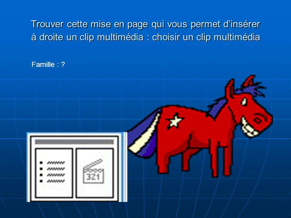 Trouver cette mise en page qui vous permet dinsérer à droite un clip multimédia : choisir les applaudissement Végétarien ou carnivore .