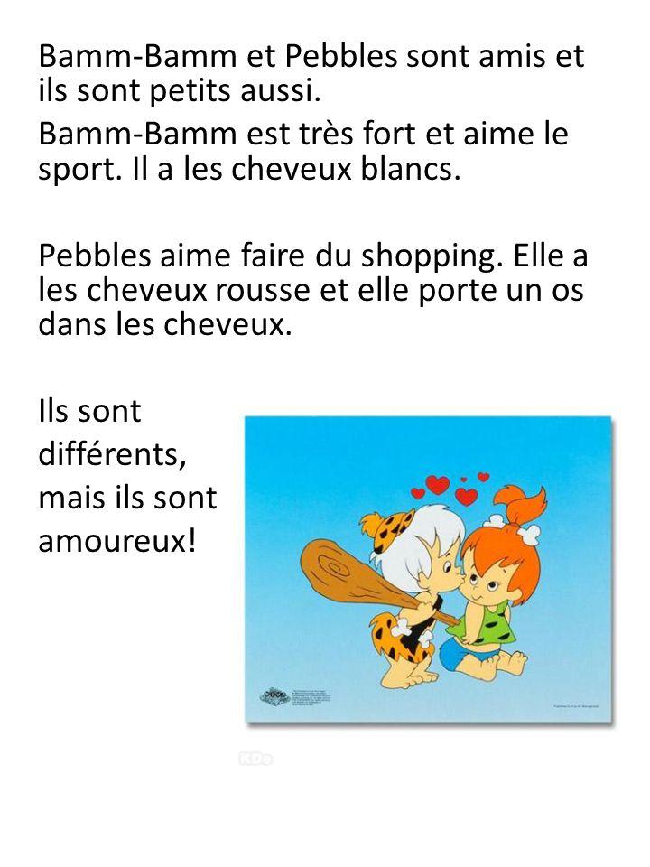 Bamm-Bamm et Pebbles sont amis et ils sont petits aussi. Bamm-Bamm est très fort et aime le sport. Il a les cheveux blancs. Pebbles aime faire du shop