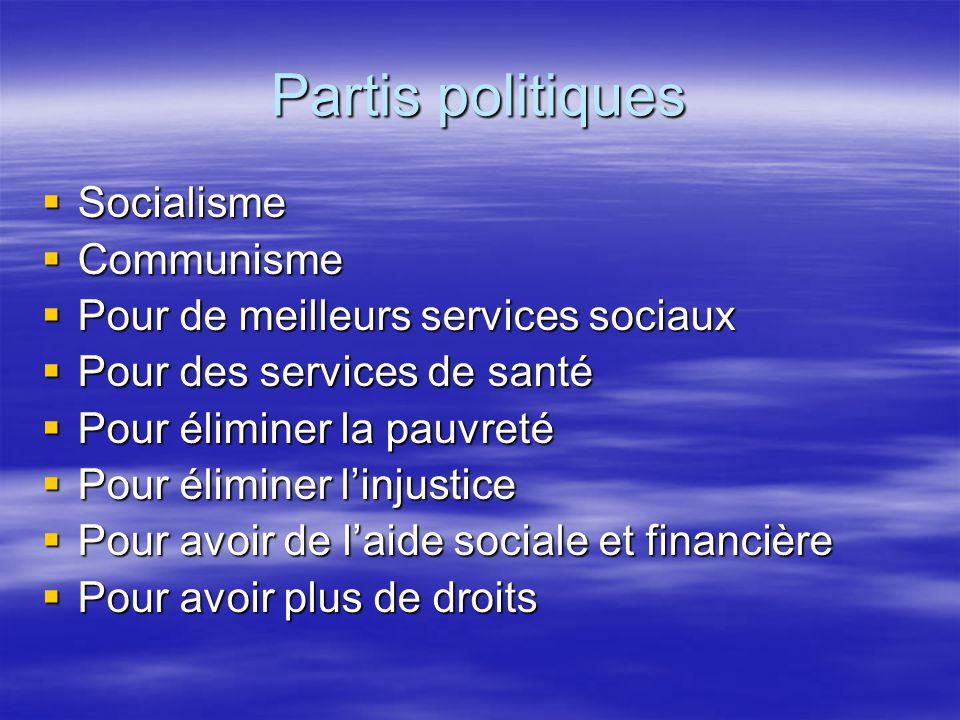 Partis politiques Socialisme Socialisme Communisme Communisme Pour de meilleurs services sociaux Pour de meilleurs services sociaux Pour des services