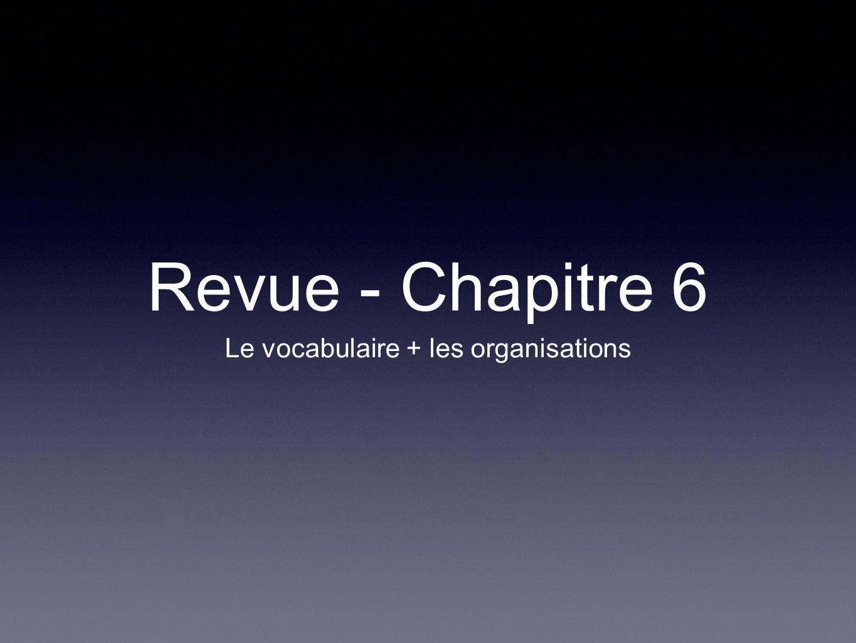 Revue - Chapitre 6 Le vocabulaire + les organisations