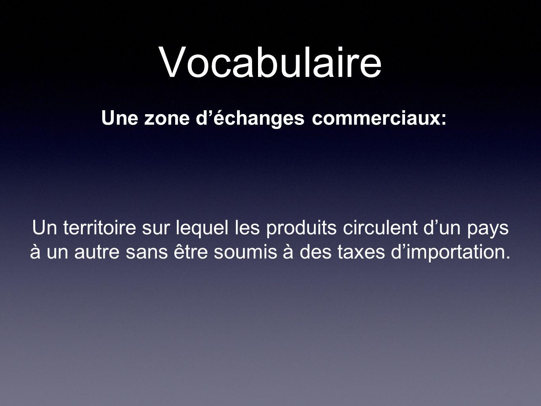 Vocabulaire Une zone déchanges commerciaux: Un territoire sur lequel les produits circulent dun pays à un autre sans être soumis à des taxes dimportation.