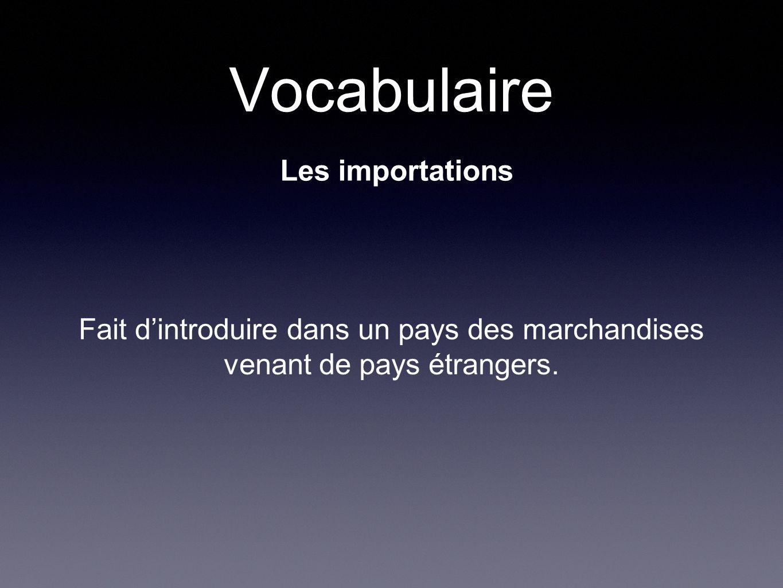 Vocabulaire Les importations Fait dintroduire dans un pays des marchandises venant de pays étrangers.