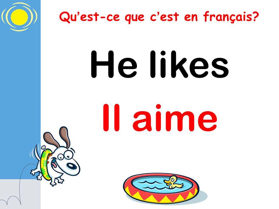 Qu est-ce que c est en français? He likes Il aime