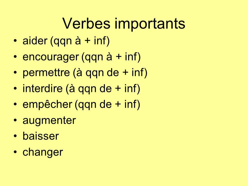 Verbes importants aider (qqn à + inf) encourager (qqn à + inf) permettre (à qqn de + inf) interdire (à qqn de + inf) empêcher (qqn de + inf) augmenter