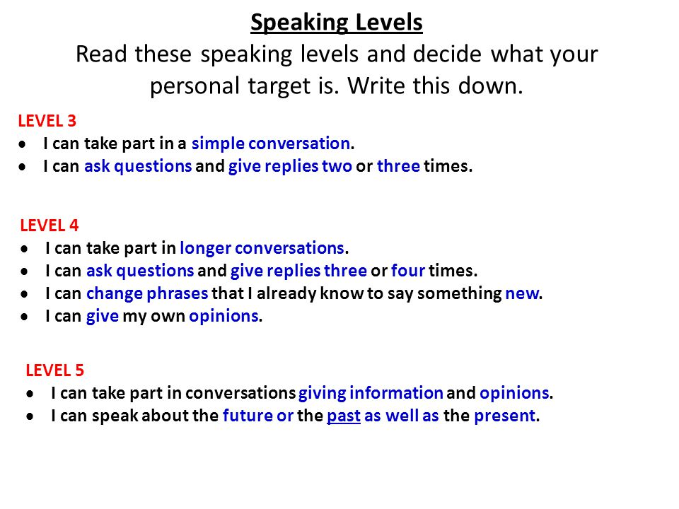 Speaking Levels Read these speaking levels and decide what your personal target is.