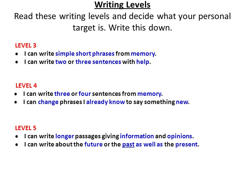 Writing Levels Read these writing levels and decide what your personal target is. Write this down. LEVEL 4 I can write three or four sentences from me