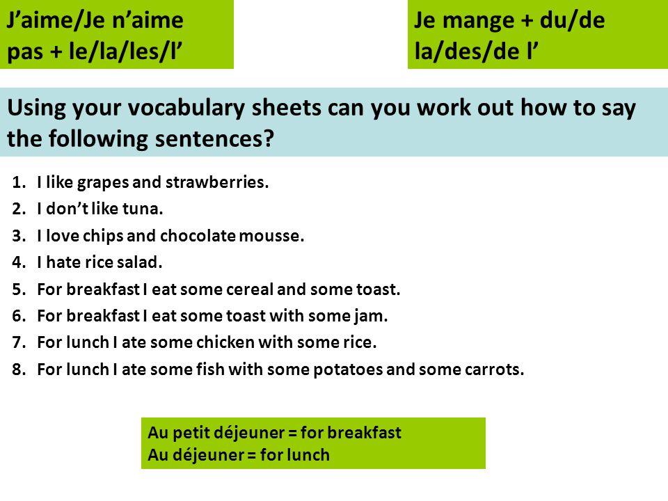 Assessment Questions 1.Quest-ce que tu aimes manger.