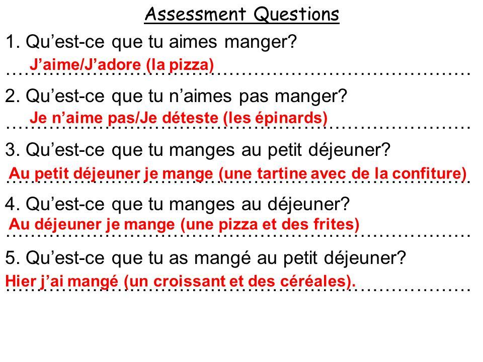 1.Jaime/Jadore (la pizza) 2. Je naime pas/Je déteste (les épinards) 3.
