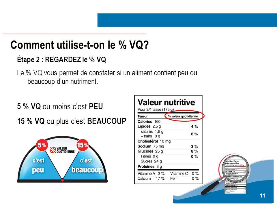 11 Étape 2 : REGARDEZ le % VQ Le % VQ vous permet de constater si un aliment contient peu ou beaucoup dun nutriment. 5 % VQ ou moins cest PEU 15 % VQ