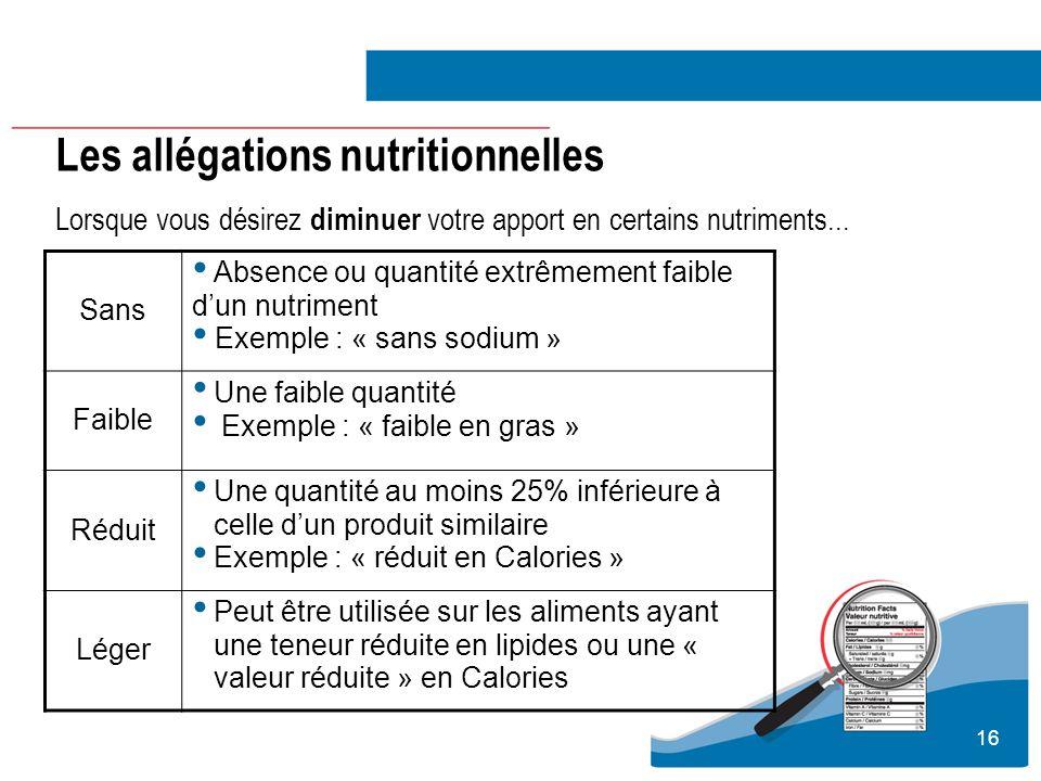 16 Les allégations nutritionnelles Lorsque vous désirez diminuer votre apport en certains nutriments... Sans Absence ou quantité extrêmement faible du