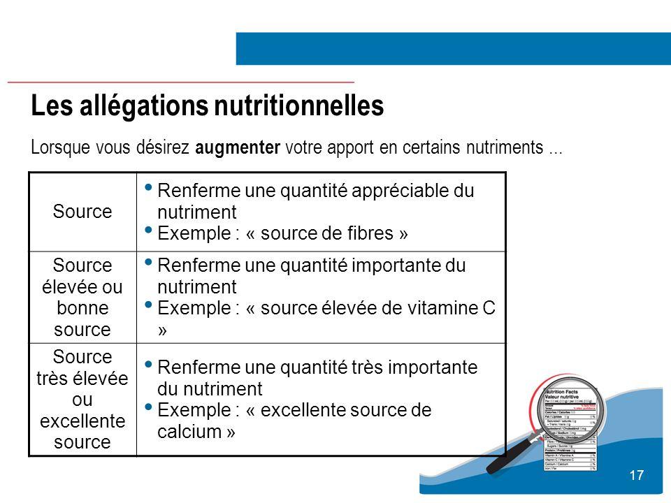 17 Les allégations nutritionnelles Lorsque vous désirez augmenter votre apport en certains nutriments... Source Renferme une quantité appréciable du n