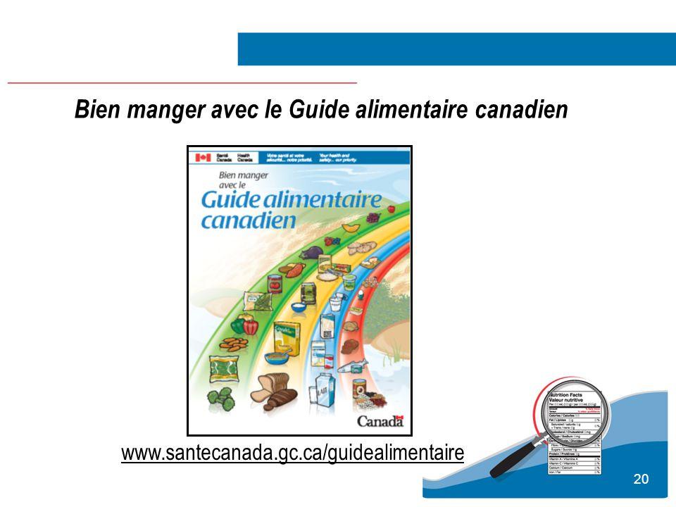 20 Bien manger avec le Guide alimentaire canadien www.santecanada.gc.ca/guidealimentaire