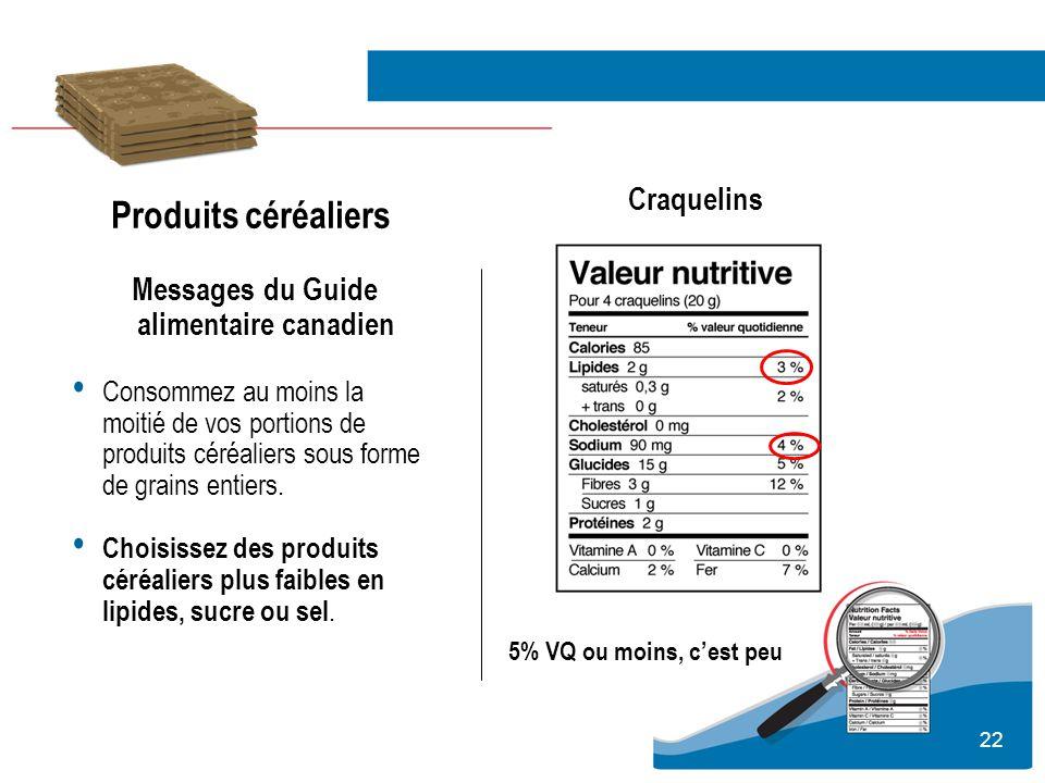 22 Produits céréaliers Messages du Guide alimentaire canadien Consommez au moins la moitié de vos portions de produits céréaliers sous forme de grains