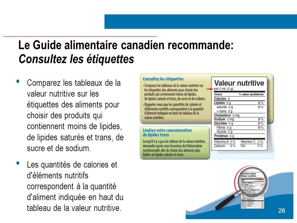 26 Le Guide alimentaire canadien recommande: Consultez les étiquettes Comparez les tableaux de la valeur nutritive sur les étiquettes des aliments pou