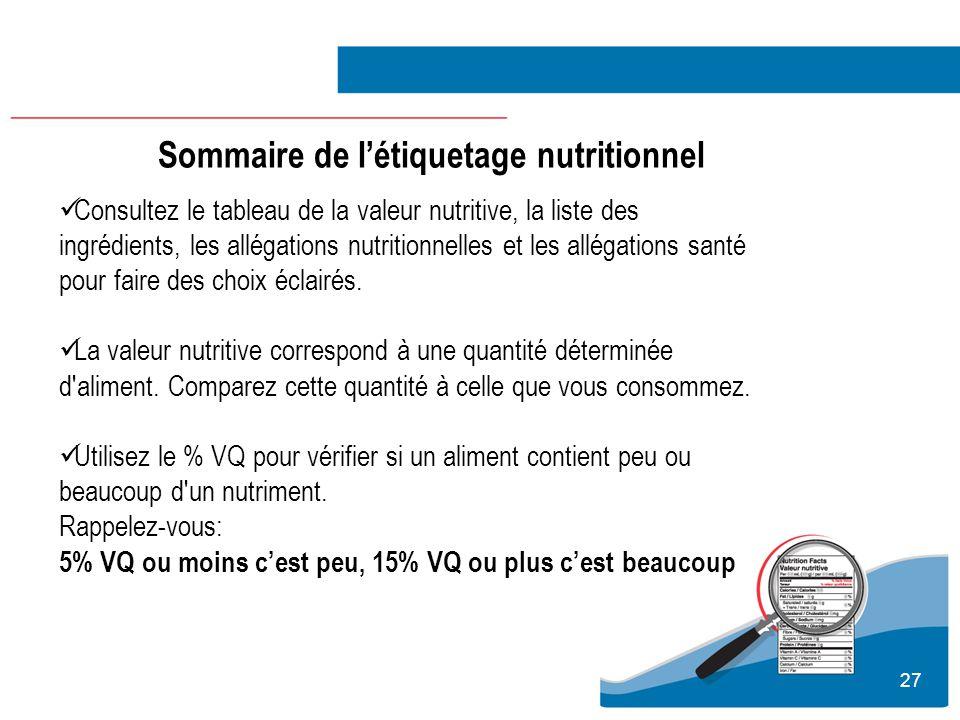 27 Consultez le tableau de la valeur nutritive, la liste des ingrédients, les allégations nutritionnelles et les allégations santé pour faire des choi