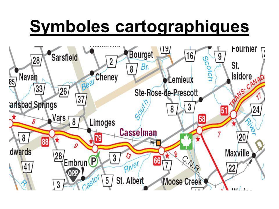 Symboles Cartographiques Les symboles de surface (zone) utilisent une couleur pour représentée une grande caractéristique comme vert pour un parc ou une forêt et bleu pour un lac.