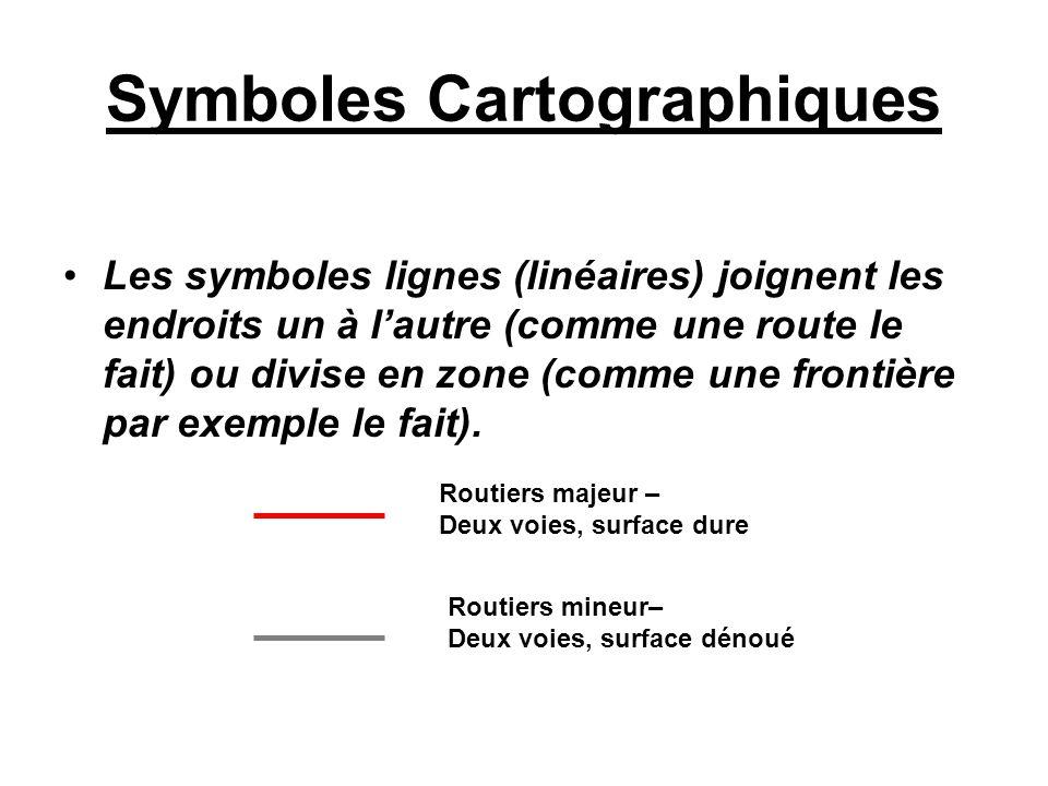 Symboles Cartographiques Les symboles lignes (linéaires) joignent les endroits un à lautre (comme une route le fait) ou divise en zone (comme une fron