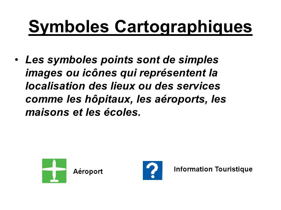 Symboles Cartographiques Les symboles points sont de simples images ou icônes qui représentent la localisation des lieux ou des services comme les hôp
