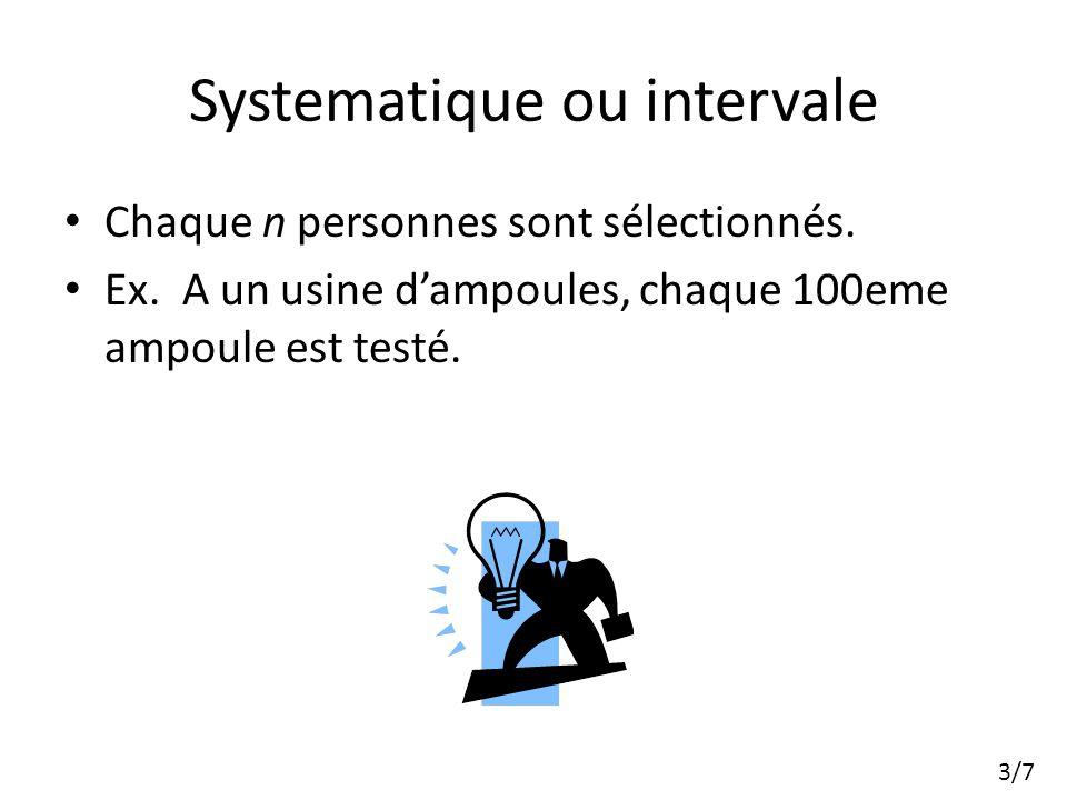 Systematique ou intervale Chaque n personnes sont sélectionnés.