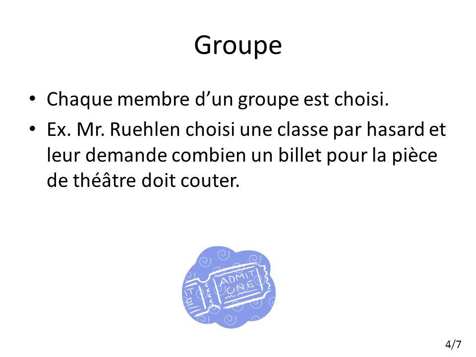 Groupe Chaque membre dun groupe est choisi. Ex. Mr.
