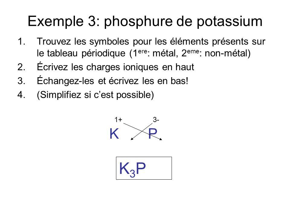 Exemple 3: oxyde de béryllium 1.Trouvez les symboles pour les éléments présents sur le tableau périodique (1 ere : métal, 2 eme : non-métal) 2.Écrivez les charges ioniques en haut 3.Échangez-les et écrivez les en bas.