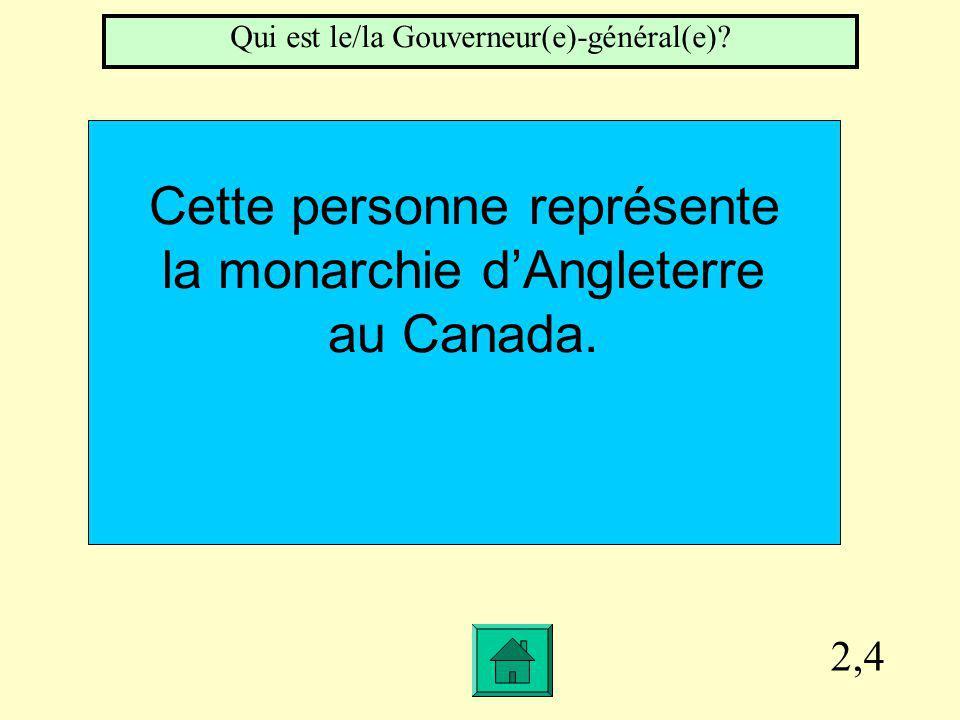 2,4 Cette personne représente la monarchie dAngleterre au Canada.