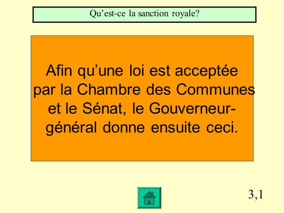 3,1 Afin quune loi est acceptée par la Chambre des Communes et le Sénat, le Gouverneur- général donne ensuite ceci.