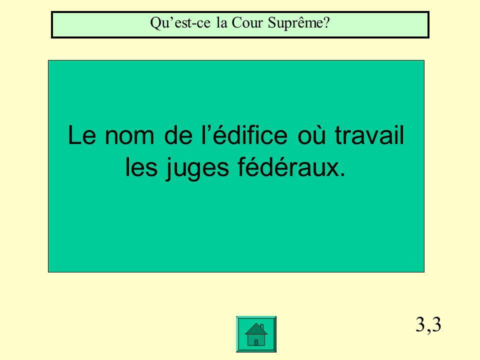 3,3 Le nom de lédifice où travail les juges fédéraux. Quest-ce la Cour Suprême